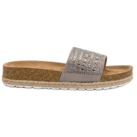 Seastar Sivi papuče s cirkonima siva