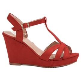 SHELOVET Suede sandale crvena