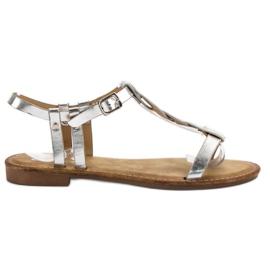 SHELOVET siva Srebrne sandale
