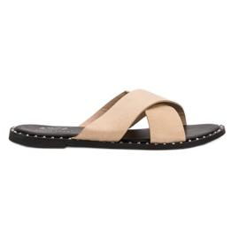 Small Swan barna Bézs színű irha papucs