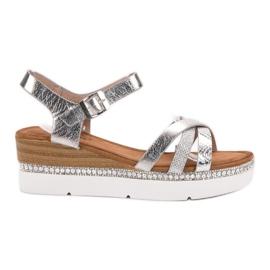 Seastar siva Modne sandale s cirkonima
