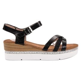 Seastar Modne sandale s cirkonima crna