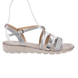 Kylie siva Srebrne sandale na platformi