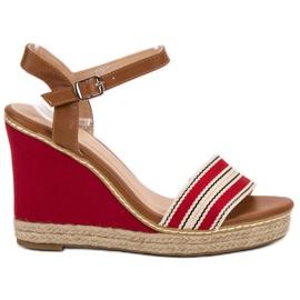 Primavera Ležerne sandale s klinom crvena
