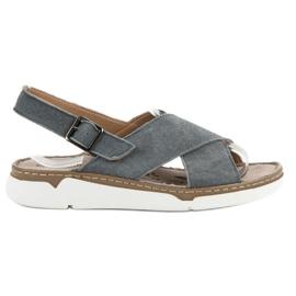 Filippo siva Kožne sandale na platformi