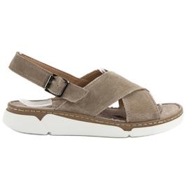 Filippo smeđ Kožne sandale na platformi