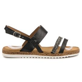 SHELOVET crna Sandale s kubičnim cirkonijem