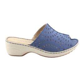Ženske papuče koturno Caprice 27351 traperice plava