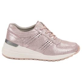 Filippo rózsaszín Bőr Wedge cipők