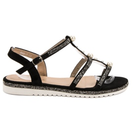 GUAPISSIMA crna Sandale s biserima