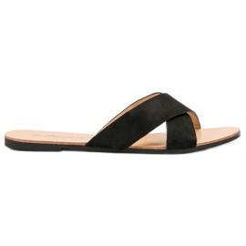 Primavera crna Udobne ravne papuče