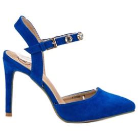 Kylie kék Stilettos egy kitett sarokkal