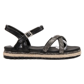 SHELOVET crna Crne ženske sandale