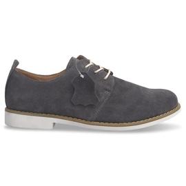 Kožne cipele od čipke LJ12 Siva