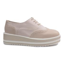 Smeđ Bež čipkaste cipele Paulette od čipke