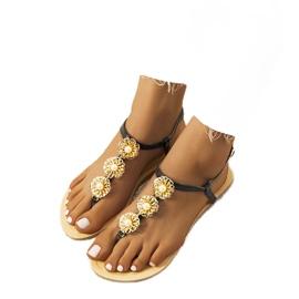 Crna Crne ravne sandale s biserima Okra