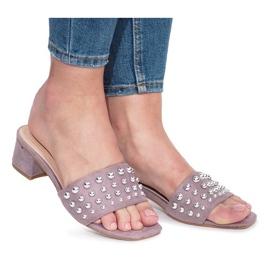 Purpurna boja Ljubičaste natikače s visokim potpeticama
