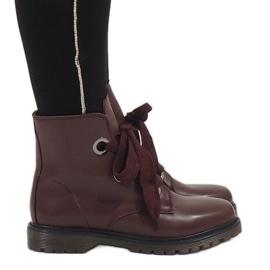 Kayla Shoes crvena Burgundske čipkaste čizme PF276