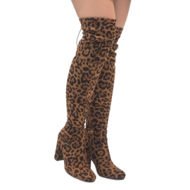 Leopard čizme na stupu preko koljena E5116