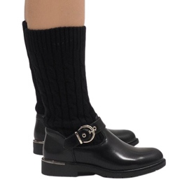 Ideal Shoes crna Crne tople čizme E-4939