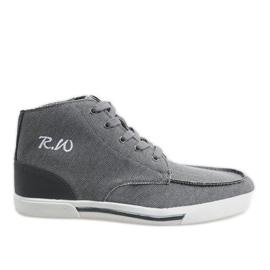 Siva elegantna visoka cipela F10455