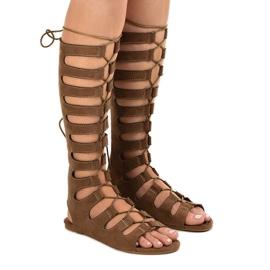 Smeđe ravne gladijatorske sandale 289-9