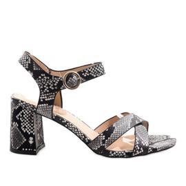 Sandale od zmijske kože na stupu od antilop X-116 crna