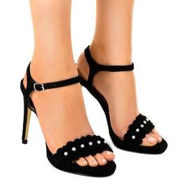 Crna Crne sandale na cvjetnoj igle TN-001
