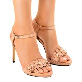 Roze Ružičaste sandale na cvjetnoj igle TN-001