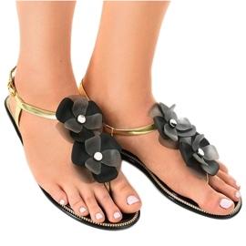 Crne papuče s cvijećem KG19P