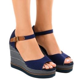 Mornarica Tamno plave sandale na espadrille s klinom 9079