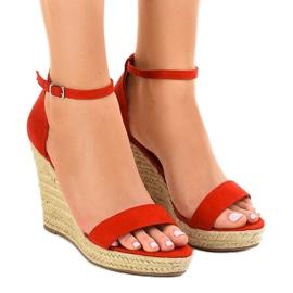 Crvene sandale na klinaste espadrila BD342 crvena