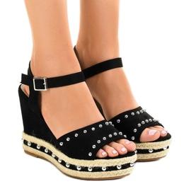 Crna Crne klinaste sandale biseri 77-32