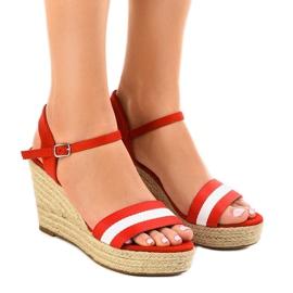 Crvena Crvene espadrille sandale s klinom 9072