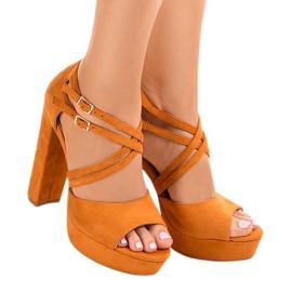 Narančasta Narančaste sandale na antilop stiletto D09