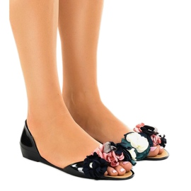 Crne meliski sandale s AE20 cvijećem crna