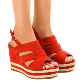 Crvene espadrille FG6 sandale s klinom na petu crvena