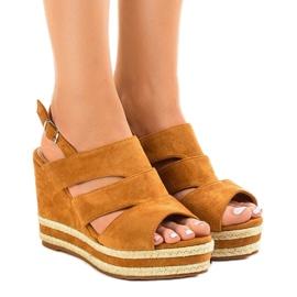 Smeđe espadrille FG6 klinaste sandale