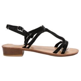 SHELOVET Sandale u potpeticama crna