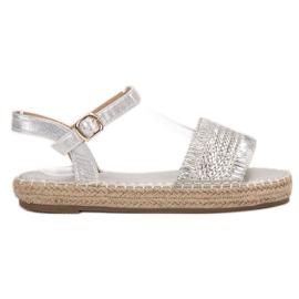 Small Swan szürke Espadrile srebrne sandale