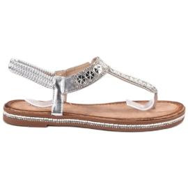 SHELOVET Srebrne sandale siva