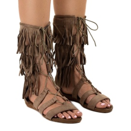 Taupe ravne gladijatorske sandale D-41