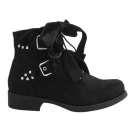 Fekete Suede gležanj čizme s lukovima QQ660 crna