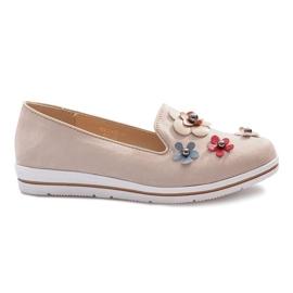 Smeđ Bež klizne cipele s multi cvijećem