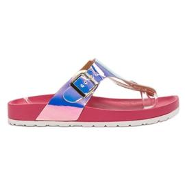 Ideal Shoes rózsaszín Japanke s Holo efektom