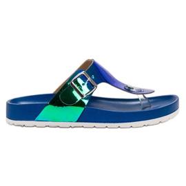 Ideal Shoes plava Papuče s Holo efektom