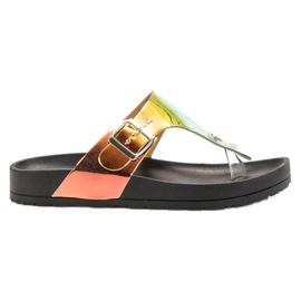 Ideal Shoes fekete Japanke s Holo efektom