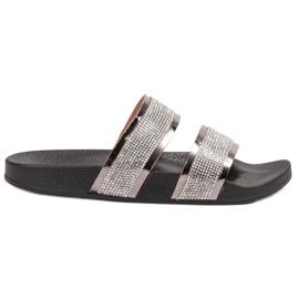 Ideal Shoes siva Ženske papuče s cirkonima