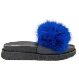 SHELOVET Papuče s krznom plava