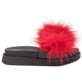 SHELOVET Papuče s krznom crvena